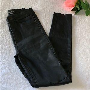 Bebe Strutter 100% Leather Black Skinny Jeans